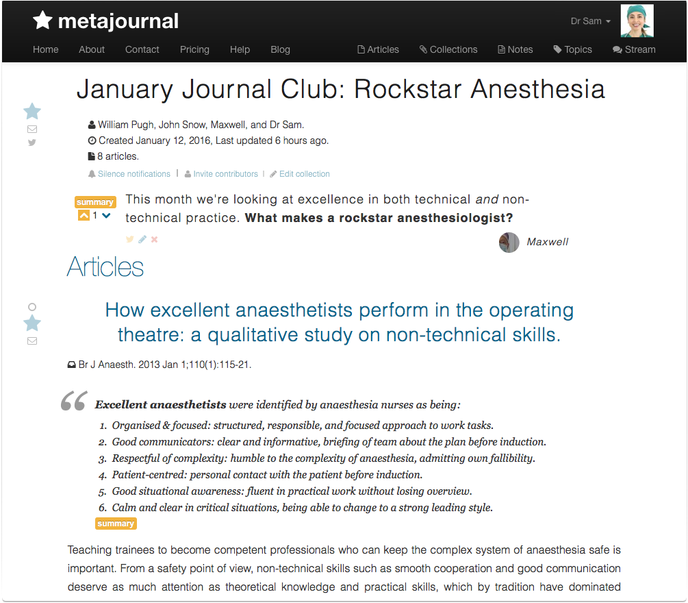 Metajournal article collections virtual journal clubs